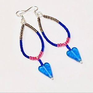 Pretty Blue Czech Glass Heart On A Hoop Earrings
